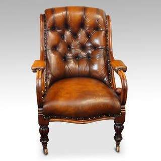 19thc. button back leather reading easy chair