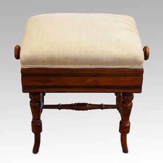 Victorian walnut adjustable music stool