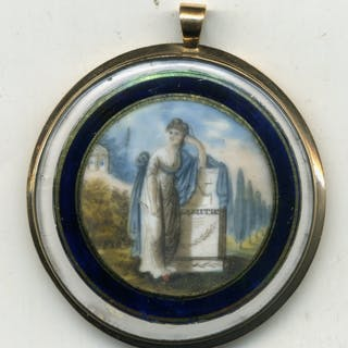 Young Lady Standing Beside a Plinth, Gilt Locket