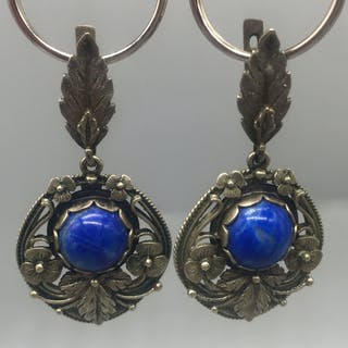 Pair of Arts and Crafts Silver Gilt Earrings