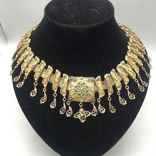 Victorian Indian gilt filigree necklace