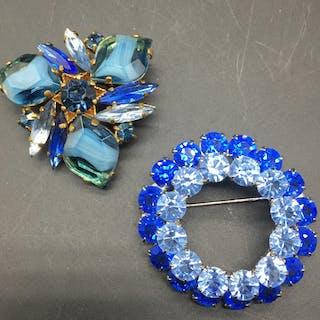 2 1950s vivid blue brooches