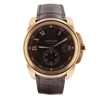Cartier Calibre de Cartier 42 mm 18K Rose Gold Automatic Brown Watch W7100007