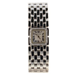 Cartier Panthere Mini 18K White Gold MOP Dial Quartz Ladies Diamonds Watch 2422