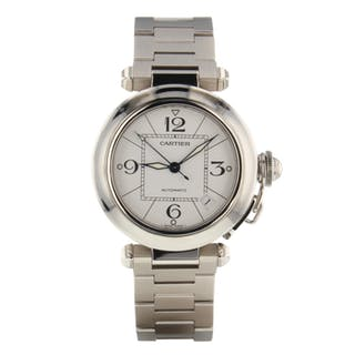 Cartier Pasha C Steel 35 mm Automatic White Mint Watch W31074M7 Box Papers