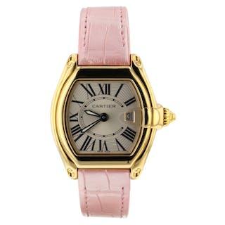 Cartier Roadster 18K Yellow Gold 36 x 30 mm Pink Leather 2676 Quartz Watch Mint
