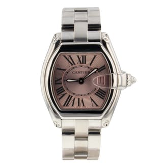Cartier Roadster Stainless Steel Pink Dial Quartz Watch W62016V3 Mint