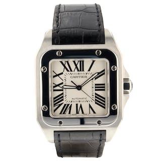 01b4557869cf Cartier Santos 100 Automatic Large 38 mm Steel Watch W20073X8 Mint