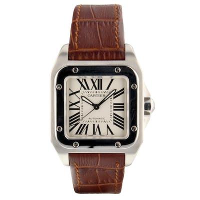 Cartier Santos 100 Medium Model Steel Silver Automatic Watch W20106X8 Mint