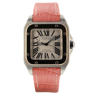 Cartier Santos 100 Steel Rose Gold Automatic 33 mm Pink Leather Watch W20107X7