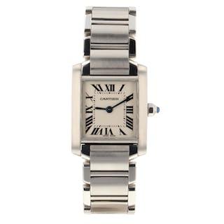Cartier Tank Francaise Steel Small Model Quartz Ladies Watch W51008Q3 Mint
