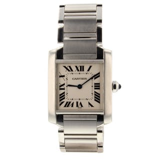 Cartier Tank Francaise Steel Quartz 25 x 30 mm Medium Model Watch WSTA0005 Mint