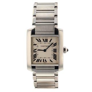 Cartier Tank Francaise Steel Quartz Silver Medium Model Watch WSTA0005 Mint