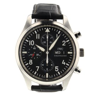 IWC Pilots Chronograph Day Date Steel Automatic 43 mm Black Watch IW377709 Mint