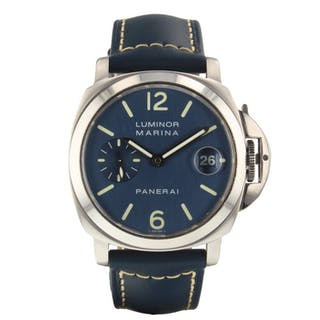 Panerai Luminor Marina 40 mm Automatic Blue Steel Watch PAM00119 PAM 119 Mint
