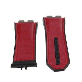 NEW Genuine Hublot Black Red Leather Rubber Strap 27 x 22 mm 6411100/1241180
