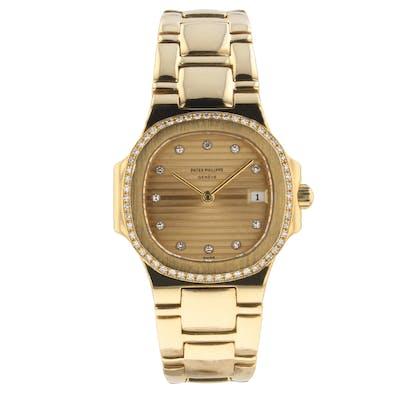 Patek Philippe Nautilus 18K Yellow Gold 27 mm Diamond Dial Bezel Watch 4700/1