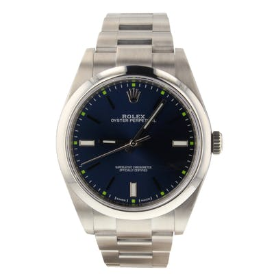 Rolex Oyster Perpetual 39mm Steel Automatic Blue Watch 114300 Mint