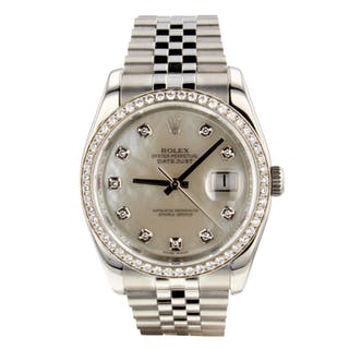 Rolex Datejust 36 mm Original Diamond MOP Dial Bezel Jubilee Watch 116244