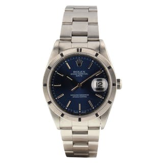 Rolex Date 34 mm Steel Automatic Blue Sticks Watch 15200 Serial A Circa 1999