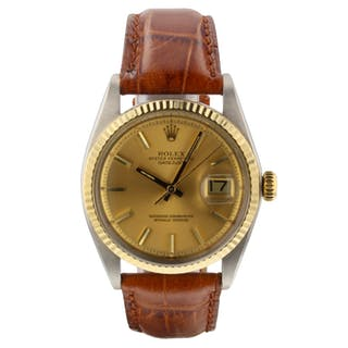 Rolex Datejust 36mm Steel Yellow Gold Bezel Champagne Watch 1601 Circa