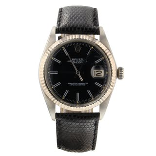 Rolex Datejust 36 mm Steel Automatic Black Indexes Leather Watch 1601