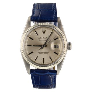 Rolex Datejust 36 mm Steel Automatic Silver Leather Watch 1601 Circa 1975
