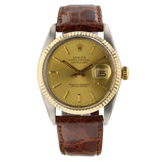 Rolex Datejust 36 mm Two Tone Leather Mint Watch 16013 Circa 1981 With Papers!