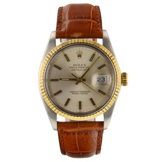 Rolex Datejust 36 mm Two Tone Silver Automatic Leather Watch 16013 Circa 1981
