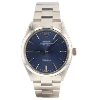 Rolex Air King Precision Steel Automatic 34 mm Blue Sticks Watch 5500