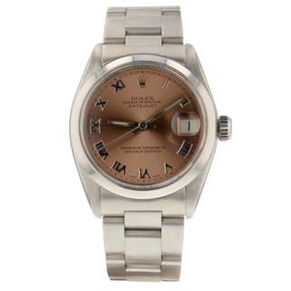Rolex Mid size Datejust Steel Automatic Pink Roman Oyster Watch 6824 Circa 1978
