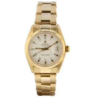 Rolex Mid size Datejust 18K Yellow Gold 31 mm Automatic White Watch 6827