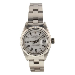 Rolex Oyster Perpetual Date White Roman Steel 26 mm Automatic Ladies