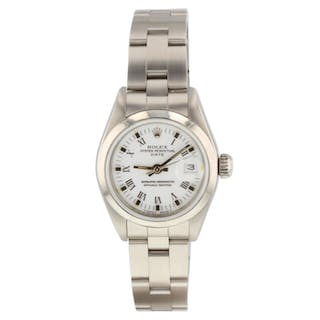 Rolex Oyster Perpetual Ladies Date Steel 26 mm White Watch 69160 Circa 1990