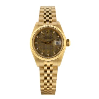 Rolex Ladies Datejust 18K Yellow Gold Automatic Diamond Watch 6917 Circa 1981