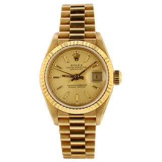 Rolex Ladies Datejust 26mm 18K Yellow Gold Watch 69178 Mint Original