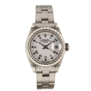 Rolex Date Steel 26mm White Roman Ladies Automatic Watch 69240 Serial R Mint