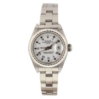 Rolex Ladies Date Steel White Roman 26 mm Watch 69240 Circa 1993 S Series