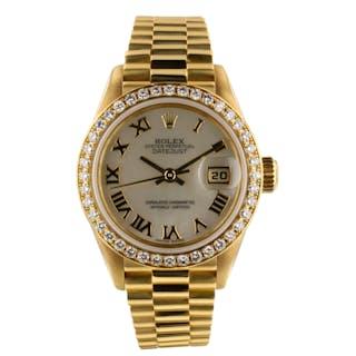 Rolex Datejust President 18K Yellow Gold Diamond Bezel 26 mm MOP Watch 79138