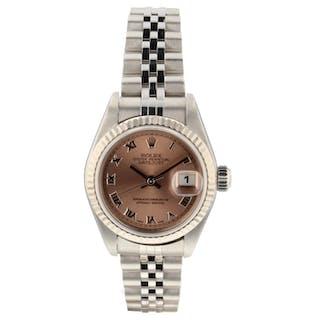 Rolex Datejust Ladies Steel Automatic Pink Roman Jubilee Watch 79174 Circa 2004