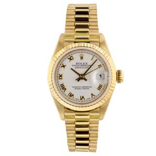Rolex Datejust Ladies 26mm 18K Yellow Gold White Roman Watch 79178