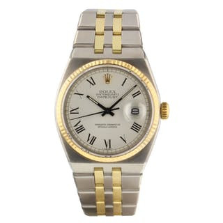 Rolex OysterQuartz Datejust 36 mm Two Tone White Roman Watch 17013 Circa 1979