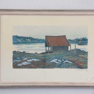 "ROLAND SVENSSON ""vårkväll Möja"" litografi 267/350"