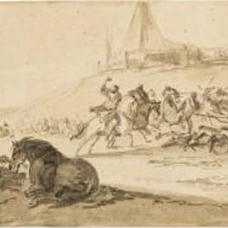 Verschuring (Hendrik, 1627-1690) Battle scene with horses in the foreground