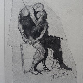 Auguste RODIN (after) - Engraving: Icarus and Phaeton