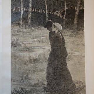 F. Gottlob - The Promise, Original signed lithograph (1897)