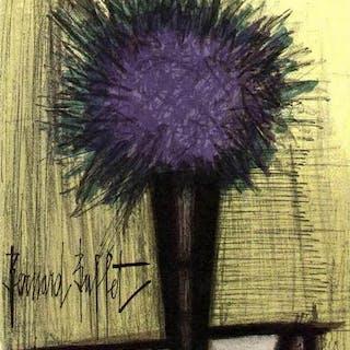 """Bernard BUFFET - """"The purple bouquet"""", Original Lithograph, 31x24cm - 1967"""