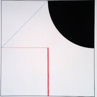 Gottfried Honegger - Composition Cercle et Carré (noir, rouge)