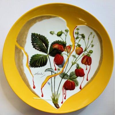 DALI Salvador - Strawberries' Hearts, original signed porcelain plate