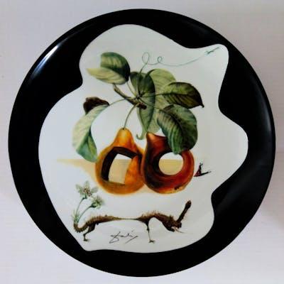 DALI Salvador - Pierced fruits and rhinoceros - original porcelain dish SIGNED